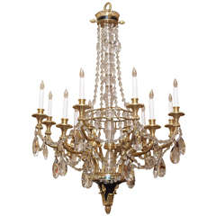 Antique French Crystal and Fine Ormolu Chandelier, circa 1890s