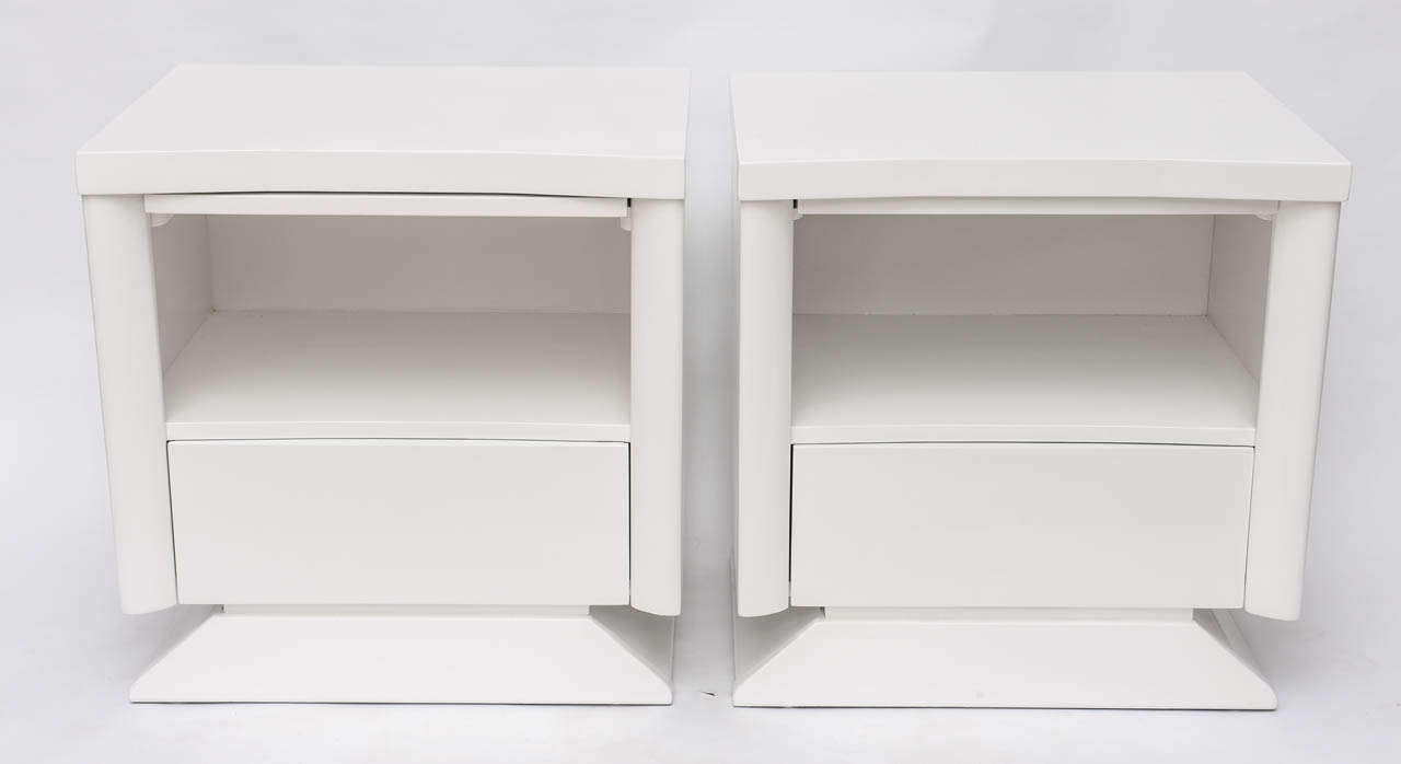 White Lacquer Bedside Cabinets White Lacquered Bedside