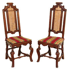 Pair of William & Mary Period Walnut Tall Back Sidechairs, English, circa 1690