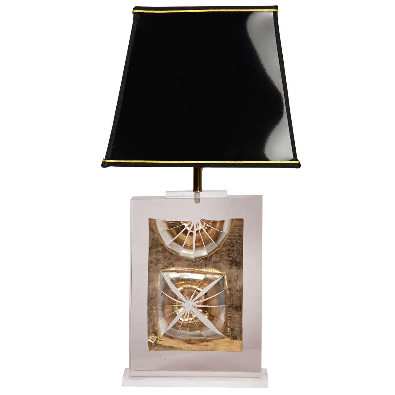 1980s Table Lamp With Inclusion In Lucite By Romeo Paris For Sale