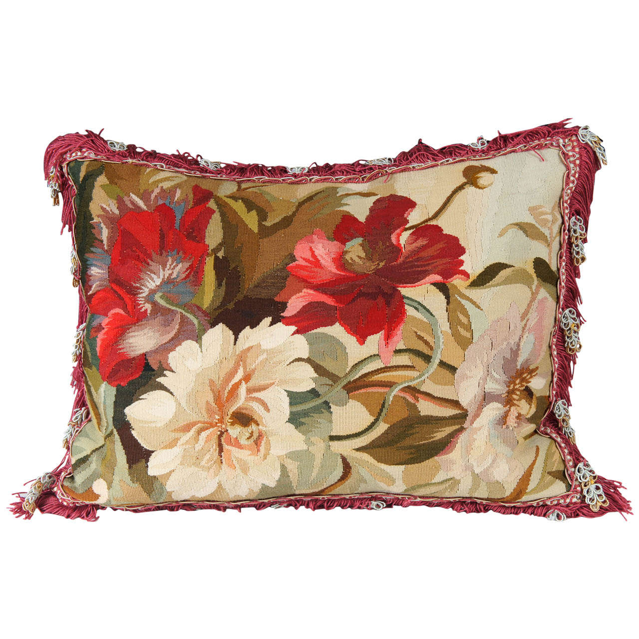 Floral Tapestry Needlepoint Pillow At 1stdibs
