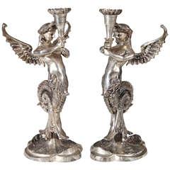 Winged Mythological Silvered-Metal Mermaid Candlesticks