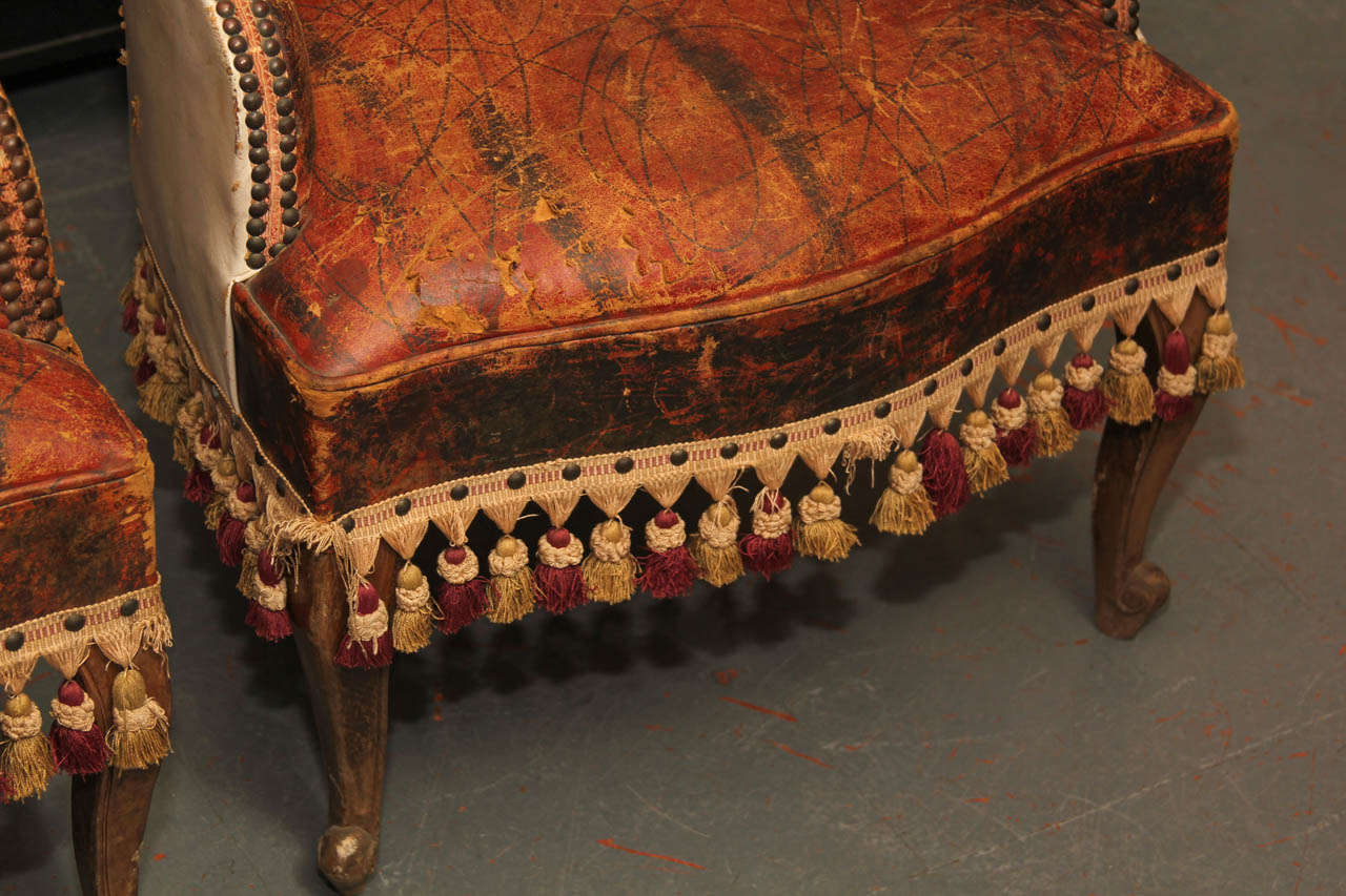 19th Century Pair of Marbleized Leather Childs Chairs For Sale