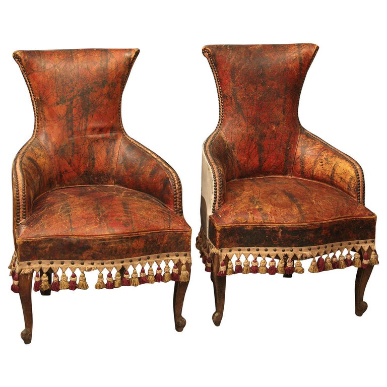 Pair of Marbleized Leather Childs Chairs For Sale