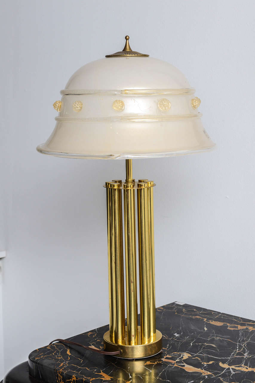 Mid-Century Murano Vetri by Barovier & Toso glass and bronze table lamp.