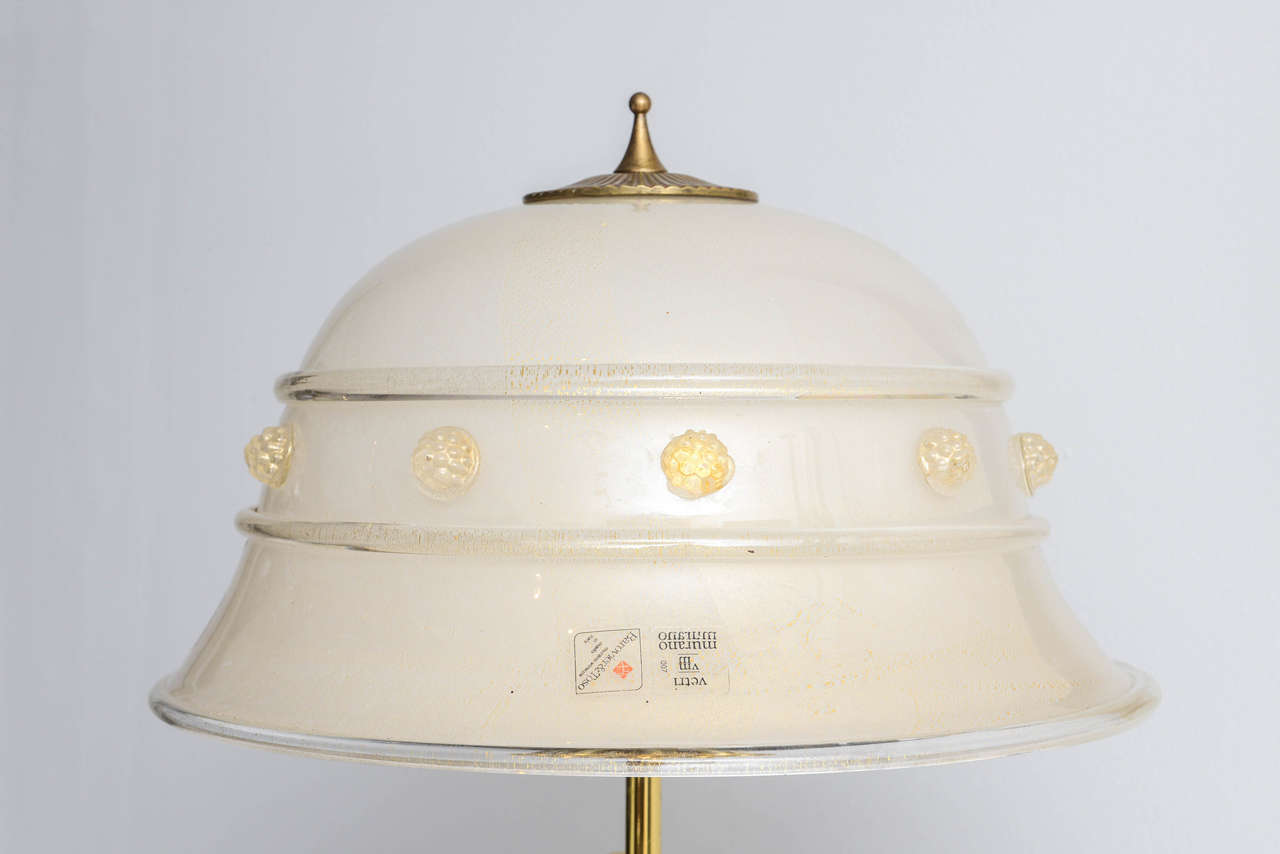 Mid-Century Modern Italian Mid-Century Barovier & Toso Glass and Bronze Table Lamp For Sale