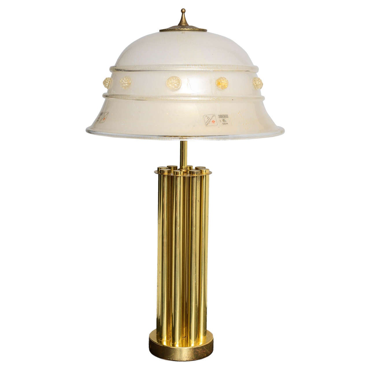 Italian Mid-Century Barovier & Toso Glass and Bronze Table Lamp For Sale
