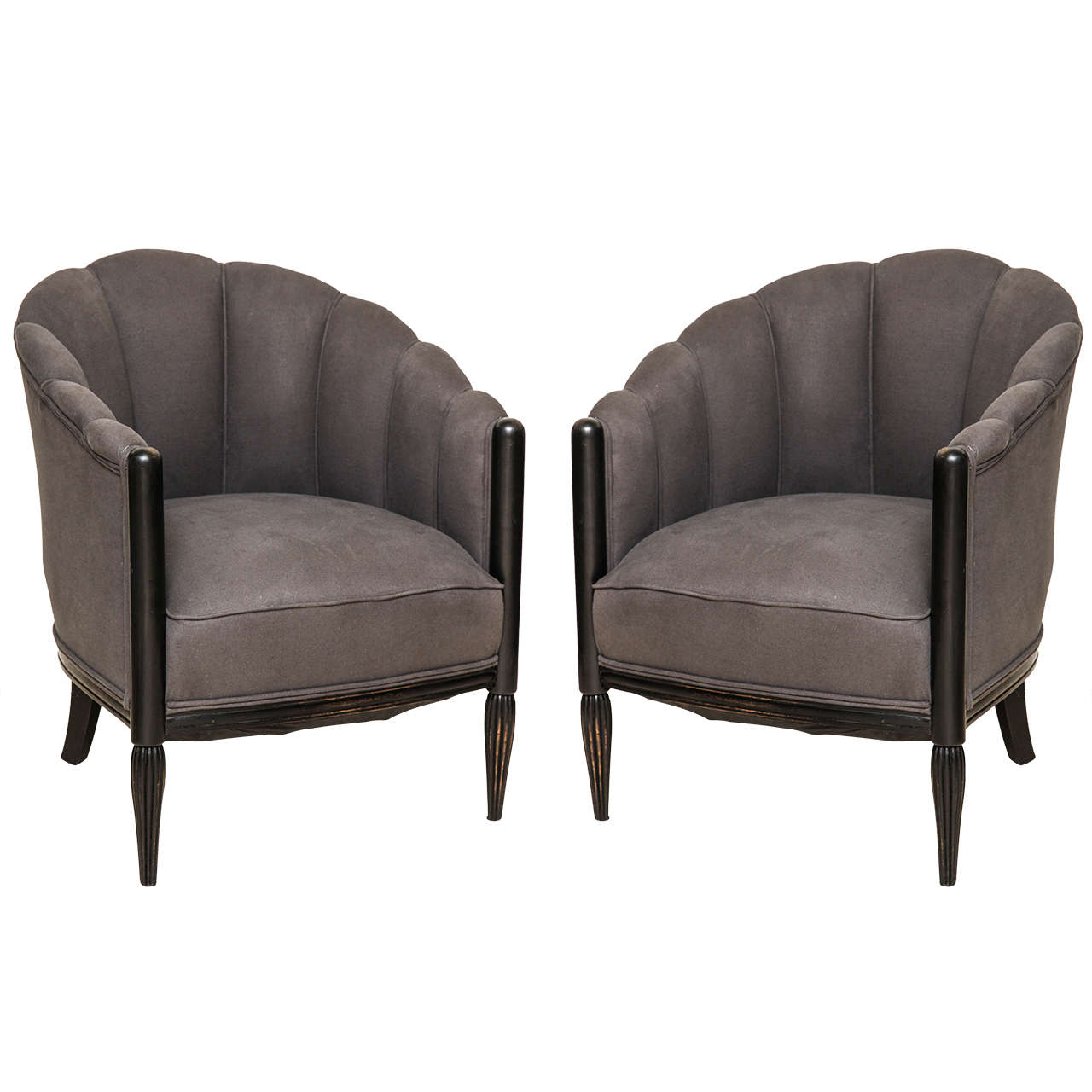 Charmant Pair Of Gray French Art Deco Fan Back Club Chairs With Ebonized Legs, Circa  1940