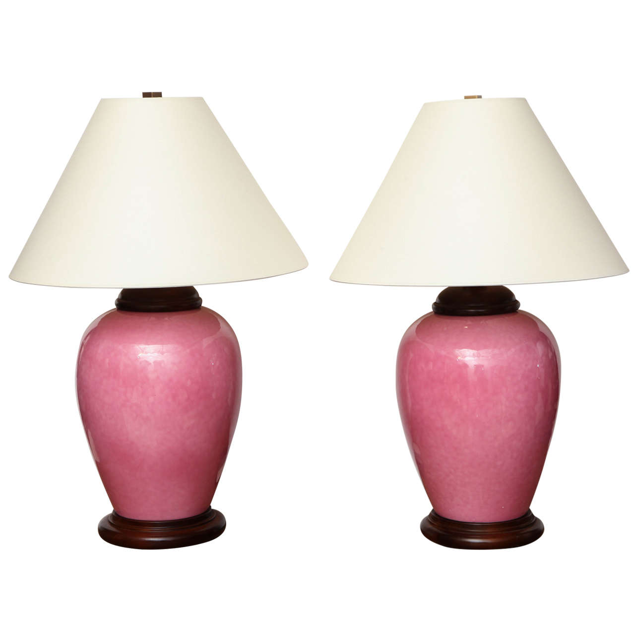 Pair of Urn Shaped Ceramic Rose Colored Table Lamps, Italy, circa ...