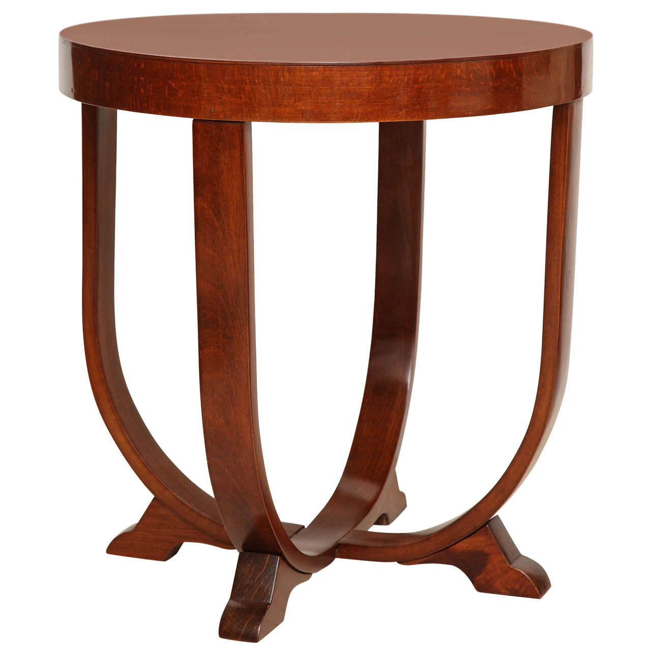 round beech art deco side table with curved supports italy circa 1940s at 1stdibs. Black Bedroom Furniture Sets. Home Design Ideas