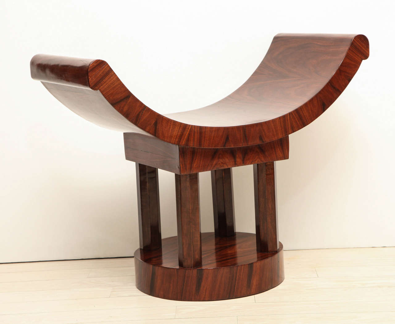French Art Deco Wood Bench With Curved Seat Circa 1930s