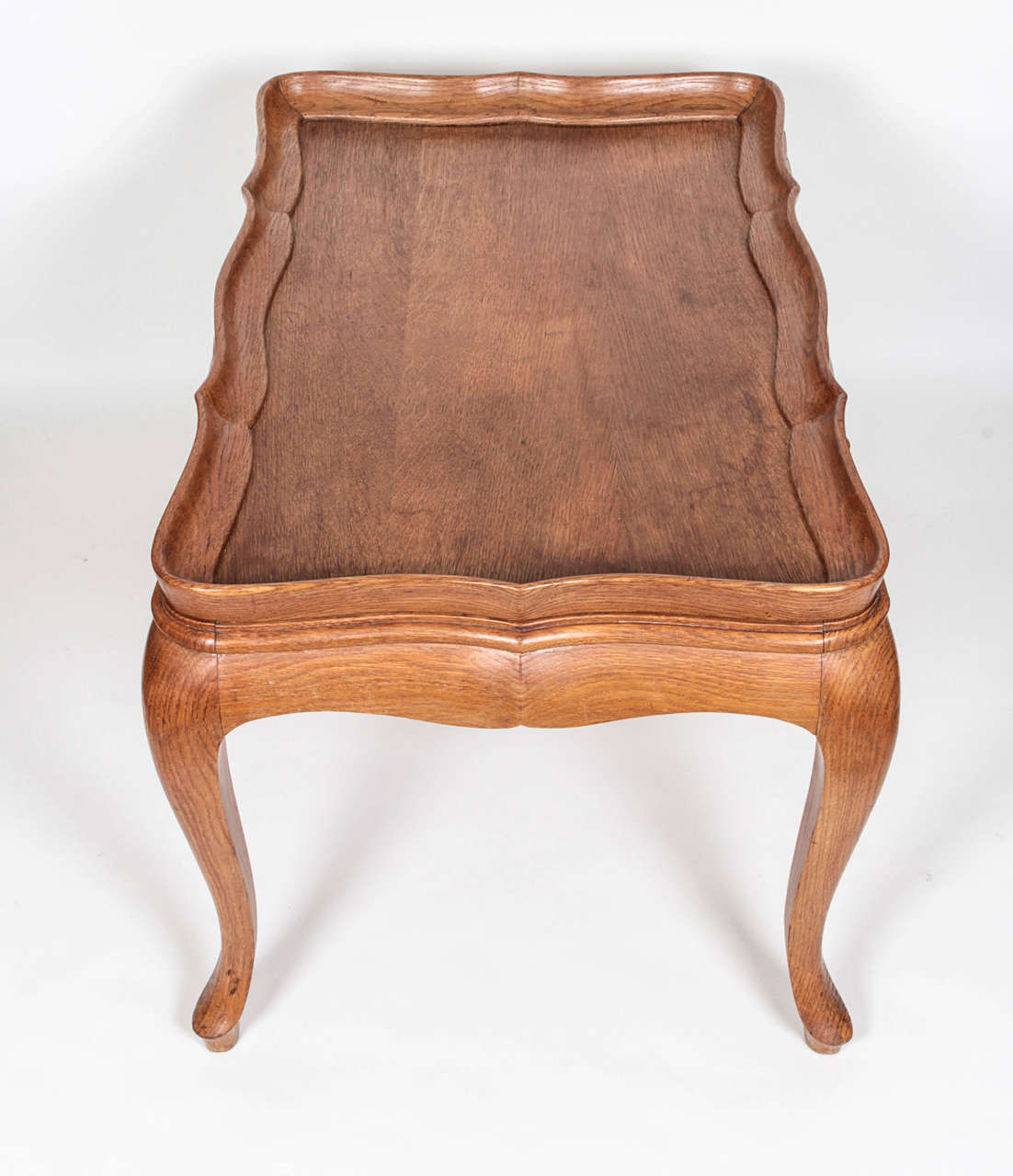 French Rococo Coffee Table: French Neo-Rococo Cocktail Table In Natural Oak, Circa