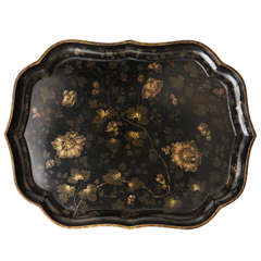English Papier Mâché Shaped Tray, circa 1850