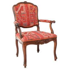 18th Century Italian Carved Walnut Armchair