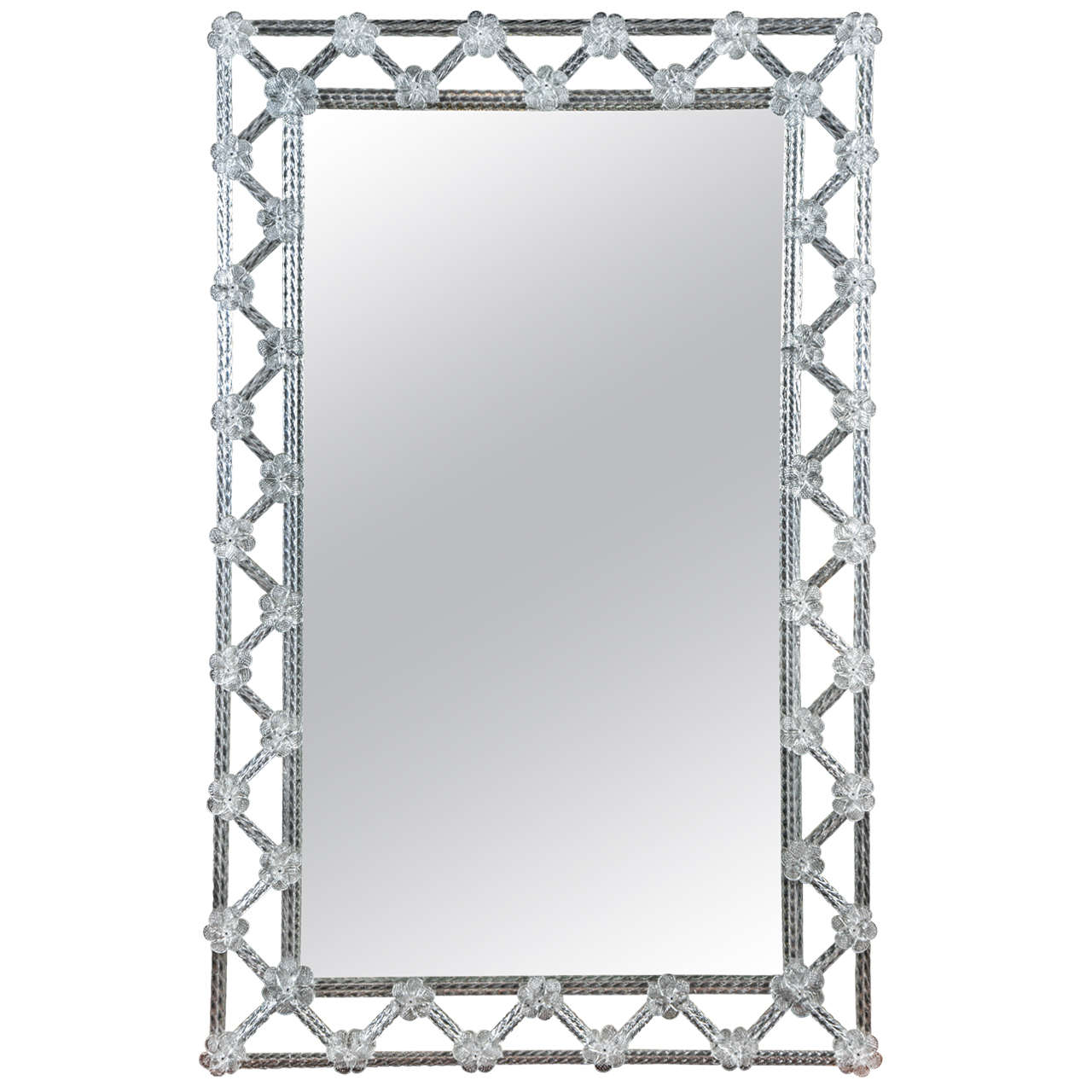 Venetian Mirror with Border in Murano Glass at 1stdibs