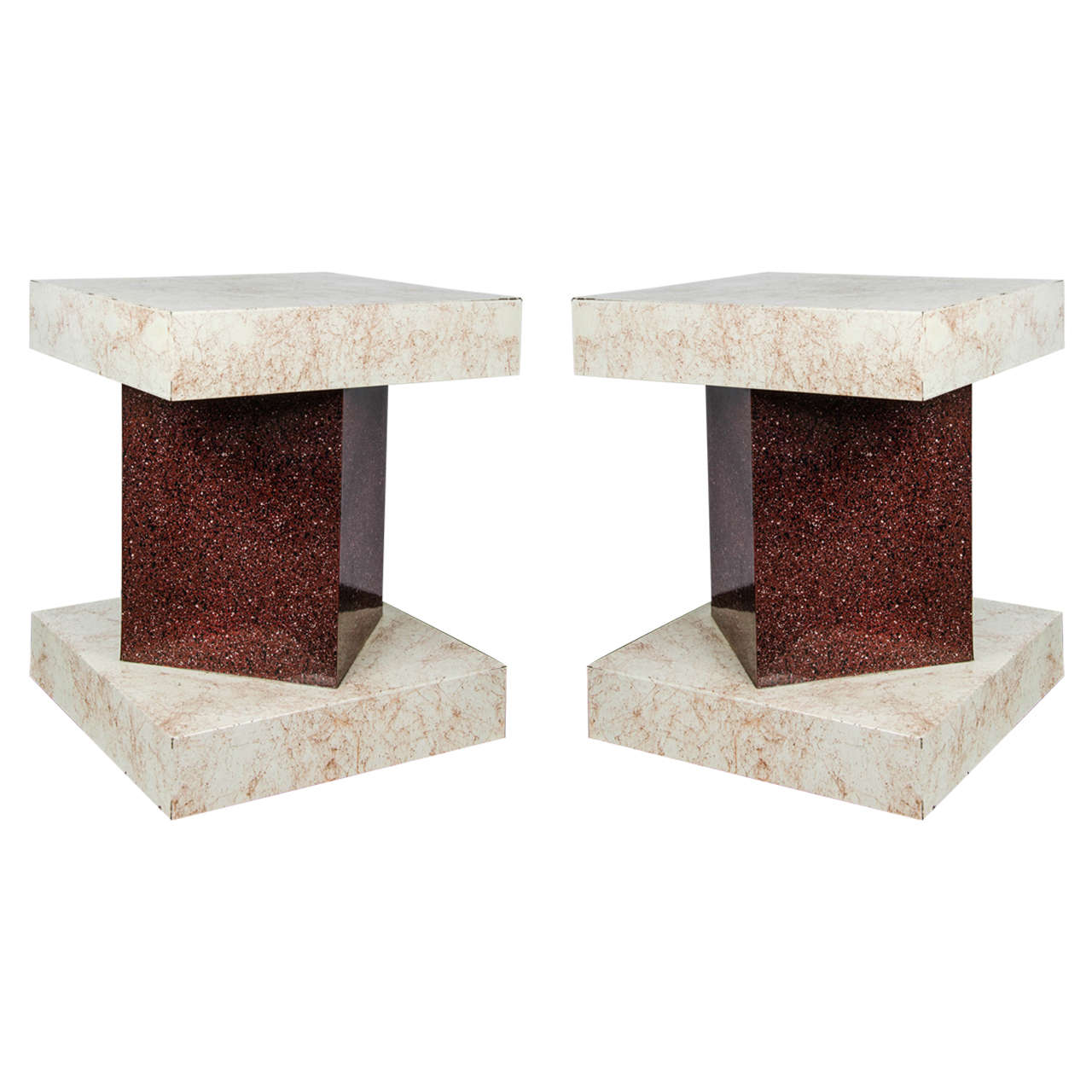 Pair of 1970s Side Tables with Melamine Marble Finish