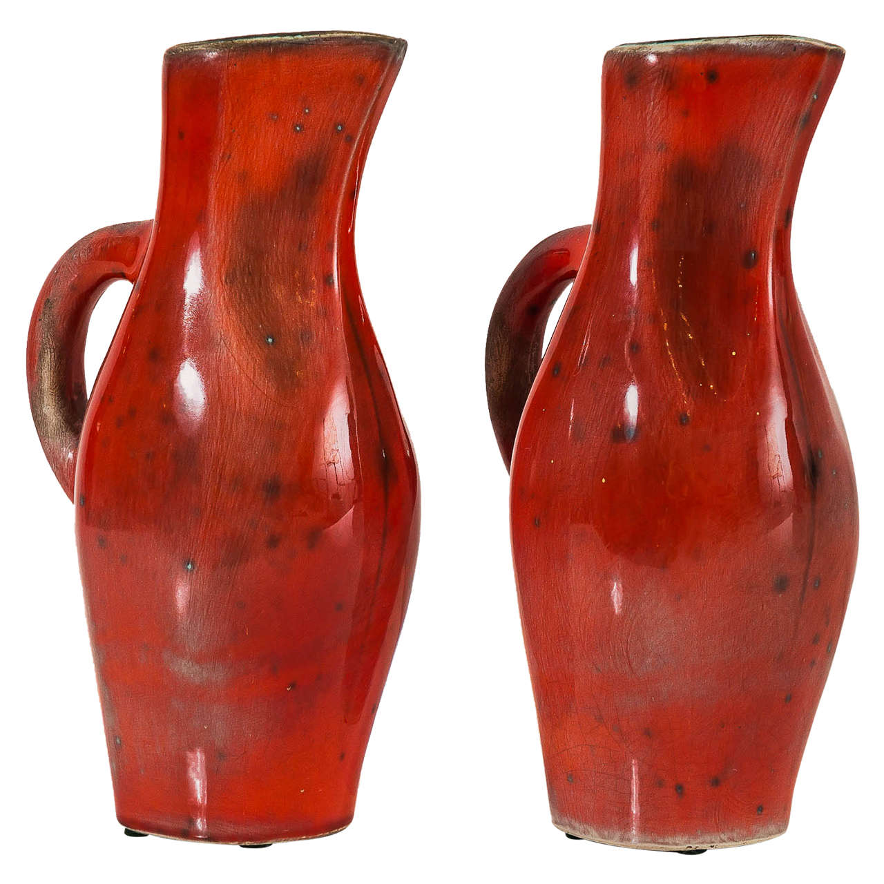 Georges JOUVE Pair Of Red Ceramic Pitchers 1