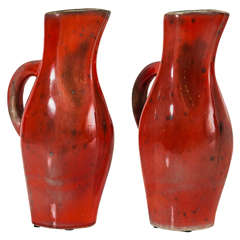 Georges JOUVE Pair Of Red Ceramic Pitchers