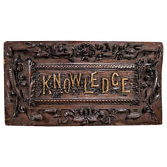 """Hand-Carved Wood """"KNOWLEDGE"""" Sign"""