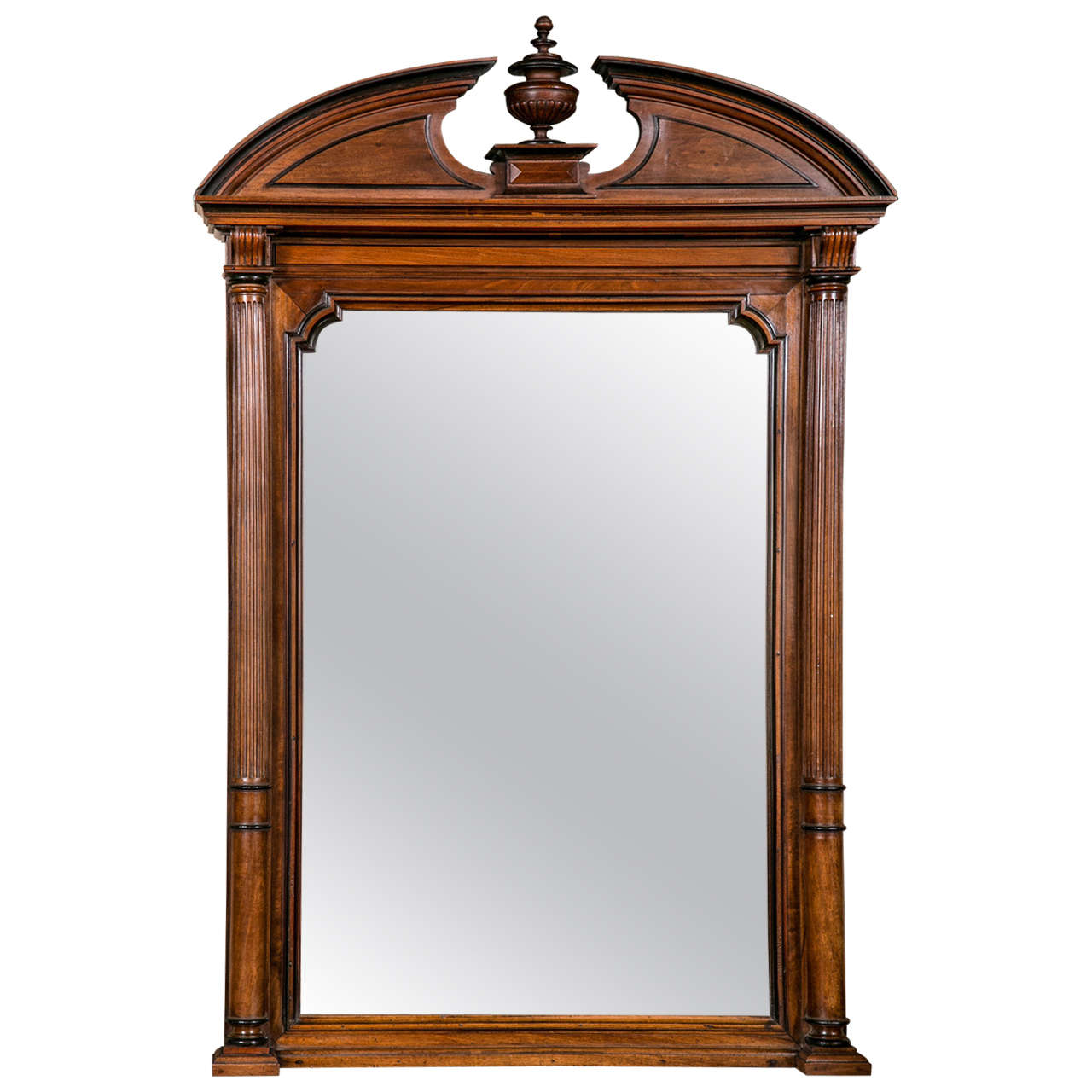 Mahogany Mirror with Molded Pediment