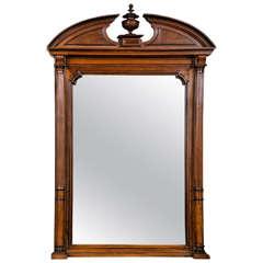 Mahogany Mirror with Molded Pediment