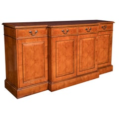 Custom Made English Yew Wood Breakfront Server / Credenza