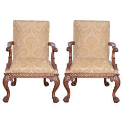 19th Century Irish Chippendale Carved Walnut Armchairs