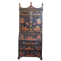 19th c English Chinoisserie black lacquered secretary
