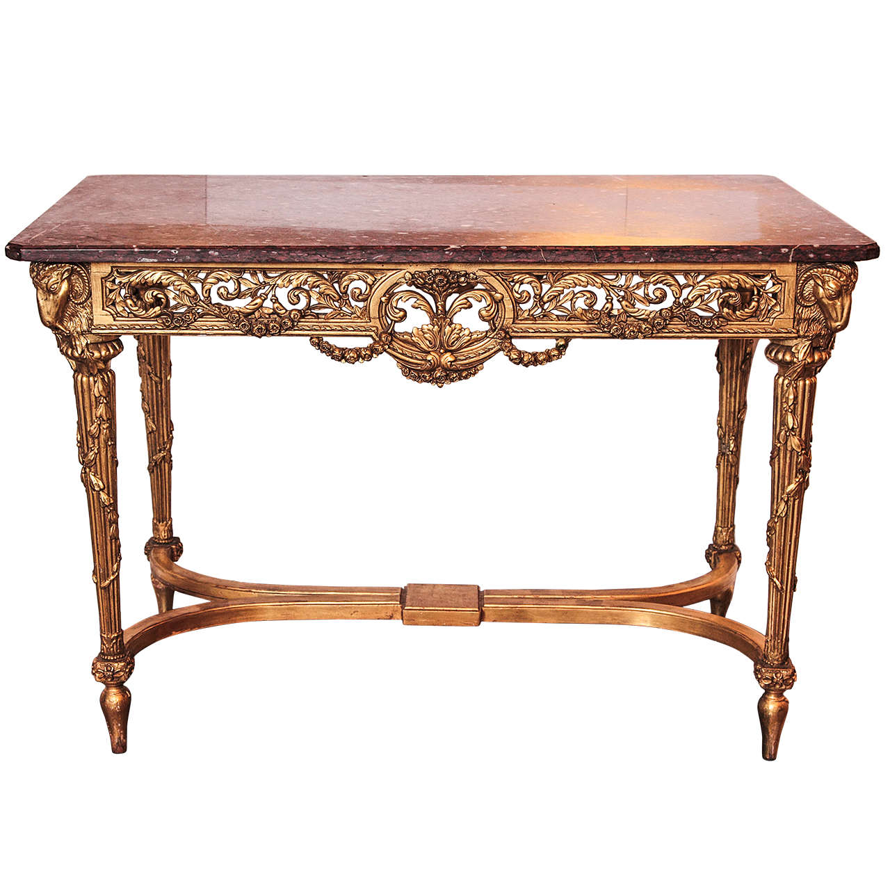 19th century french louis xvi gilded marble top center for Table th center text