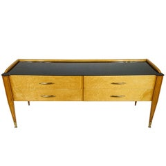 Mid century Italian  chest consolle  black glass top 1950's.