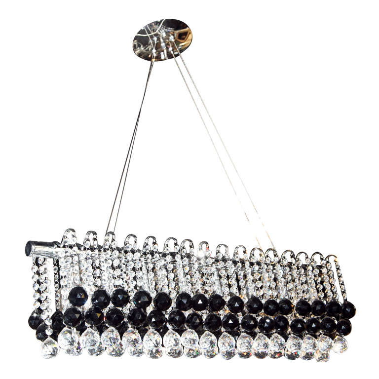 Unique modern black and clear crystal chandelier at 1stdibs - Unique crystal chandeliers ...