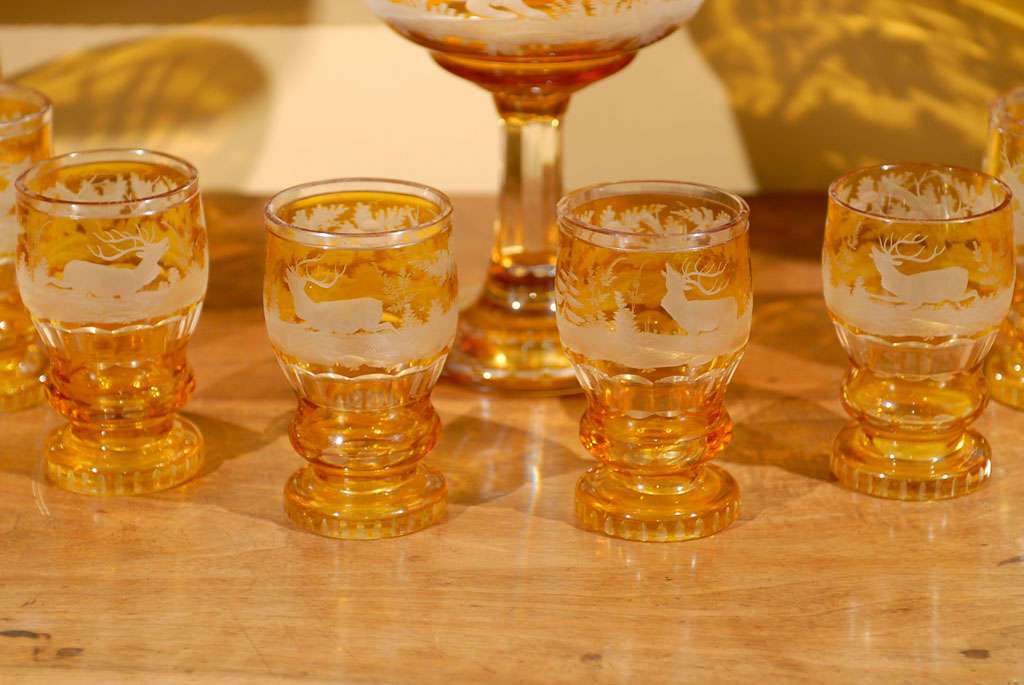 Set Of 19th Century Bohemian Glasses And Punch Bowl Circa