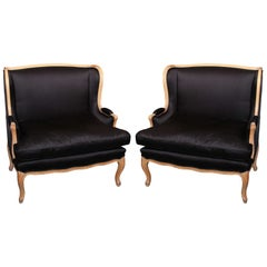 pair Black Satin Loveseats