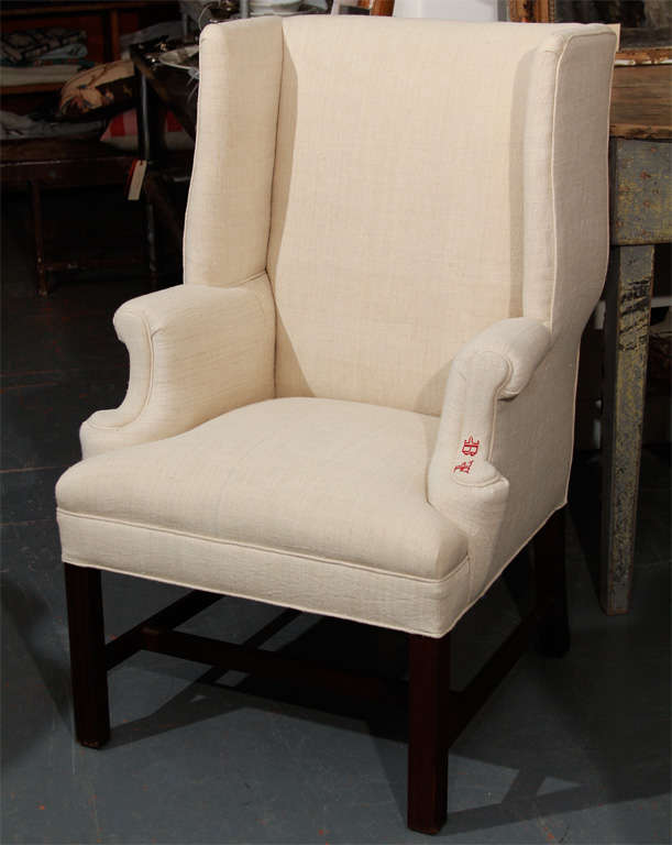 Small Wingback In Linen At 1stdibs