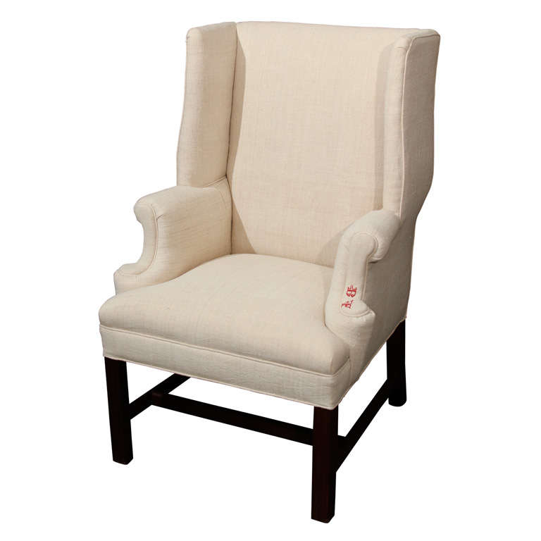 Small Wingback In Linen For Sale At 1stdibs