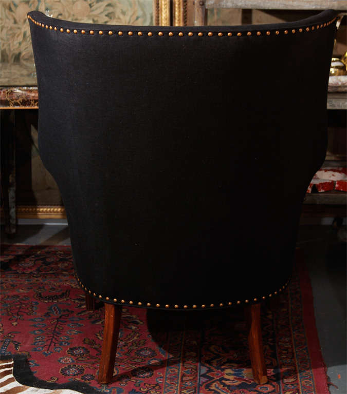 Black Linen And Nailhead Wingback Chair For Sale 4