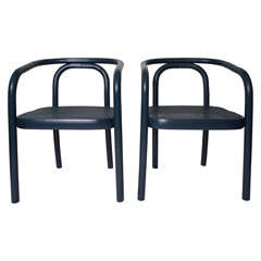 Set of 4 Navy Painted Bentwood Arm Chairs