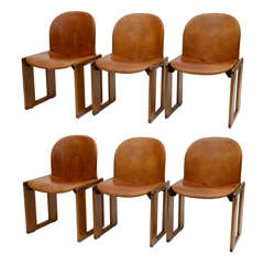 Set of Six Tobia Scarpa Leather and Walnut Chairs