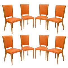 Set of Eight (8) French Oak Dining Chairs