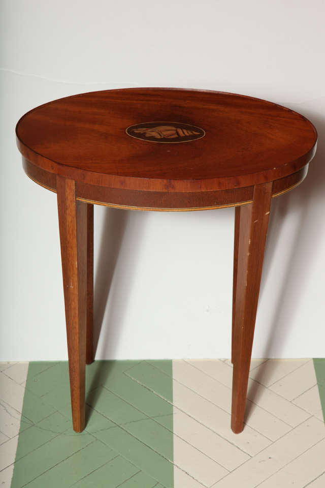 vintage baker furniture drinks table with inlaid shell motif image 2