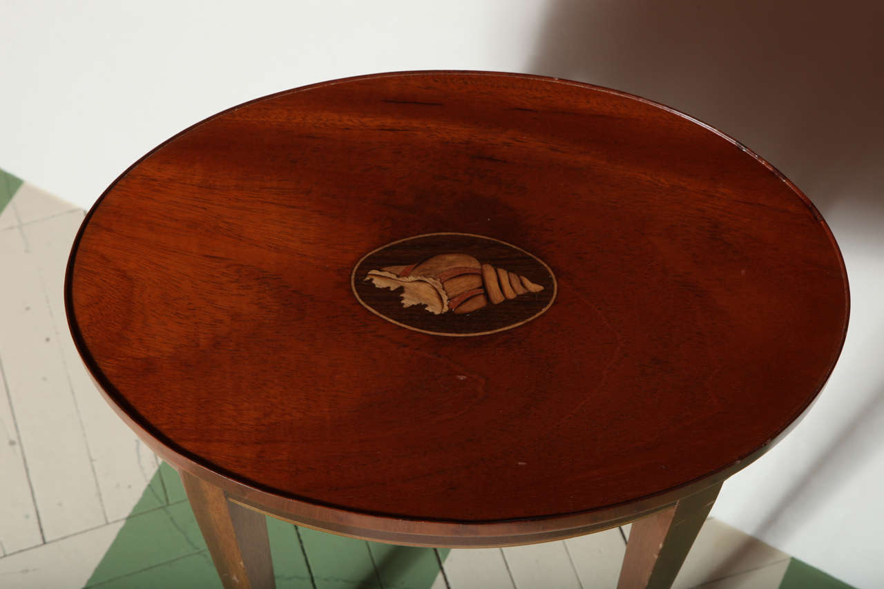 vintage baker furniture drinks table with inlaid shell motif image 3