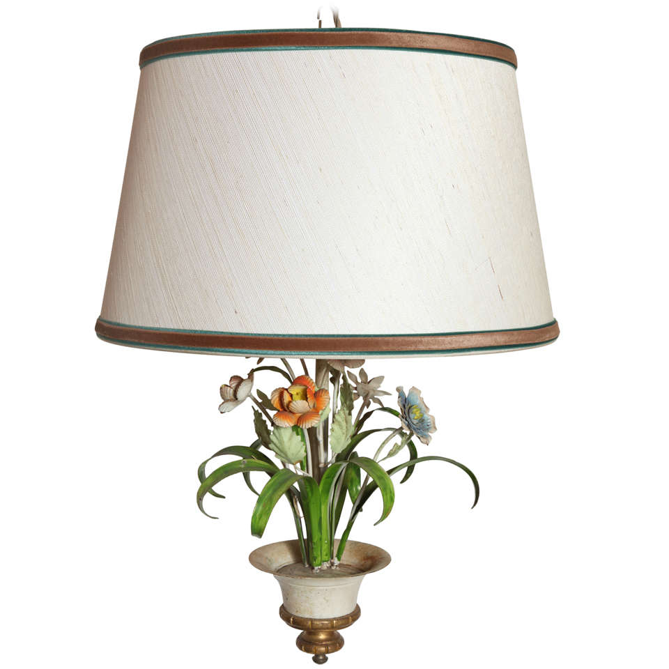 Italian Tole Chandelier with Floral Motif and Custom Shade, 1960s