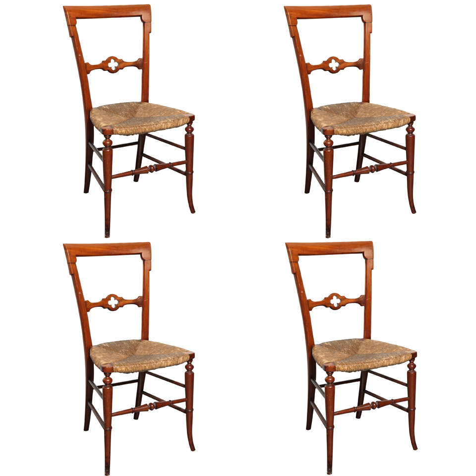 Gothic-Style Dining Chairs, Set Of 4 At 1stdibs