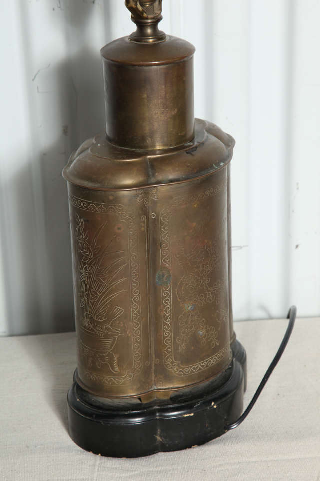 Brass Tea Canister Lamp At 1stdibs