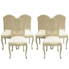19th C Louis XV Caned Back Dining Chairs
