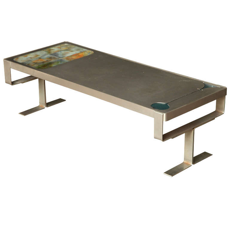 French Steel Coffee Table With Resin Inlay At 1stdibs