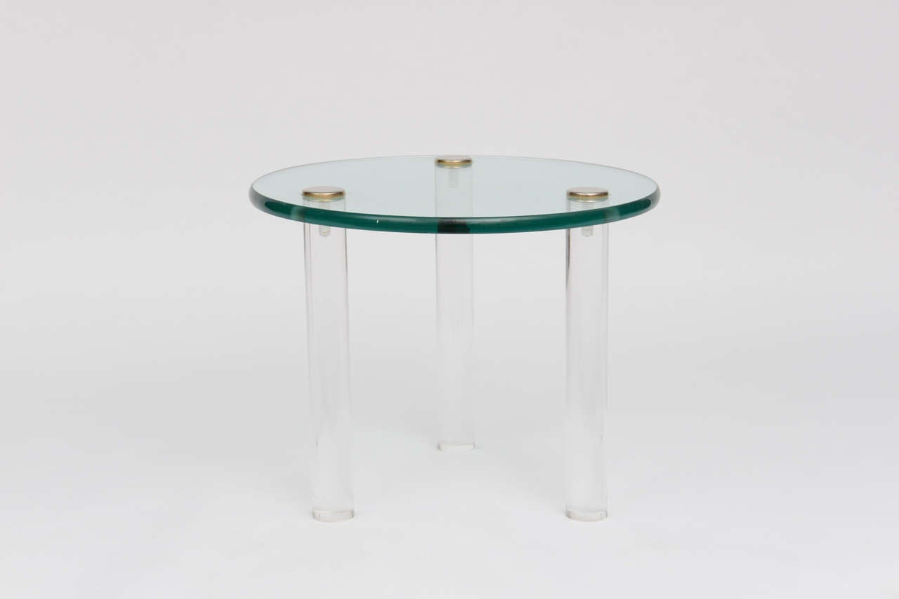 American SALE!SALE! SALE! Lucite Side Tables with Thick Glass Top, Gilbert Rhode For Sale