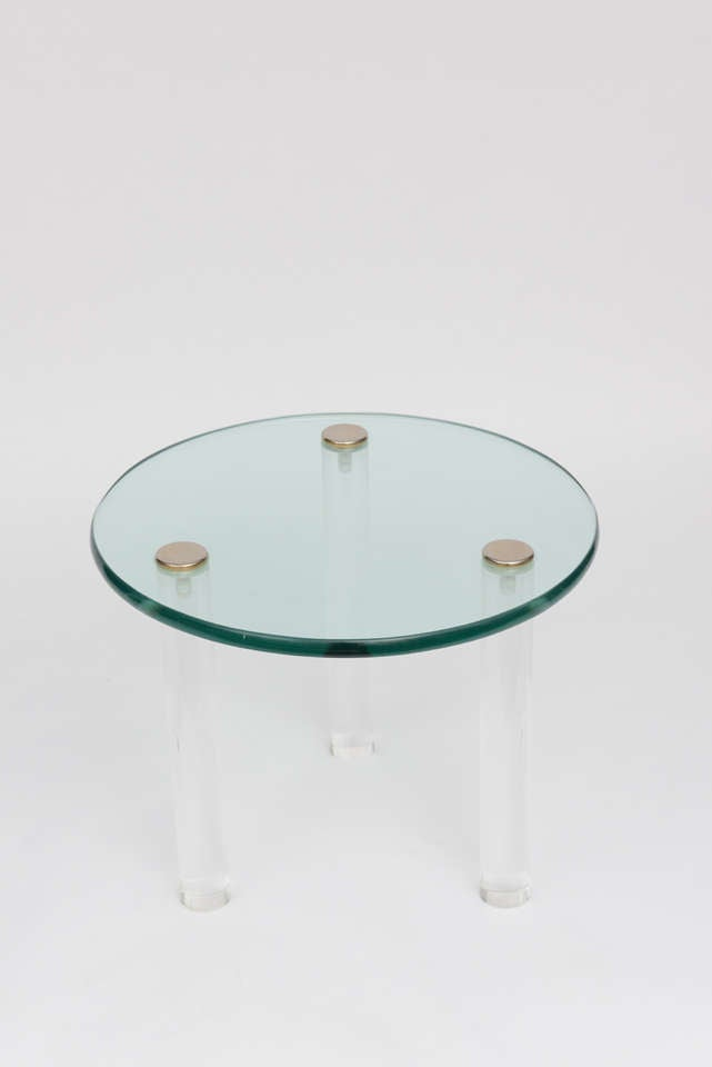 SALE!SALE! SALE! Lucite Side Tables with Thick Glass Top, Gilbert Rhode In Excellent Condition For Sale In Miami, Miami Design District, FL