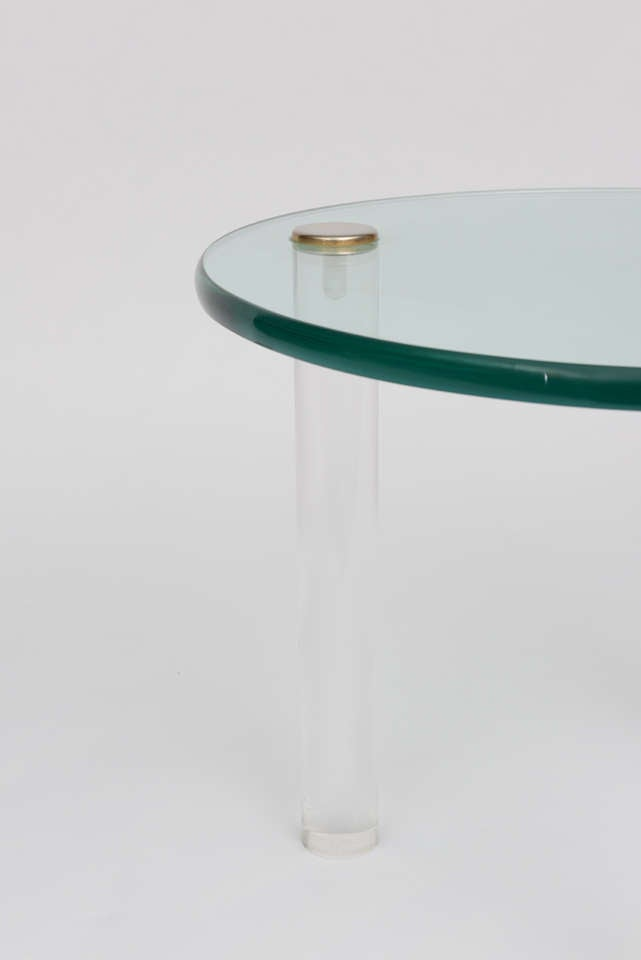 Late 20th Century SALE!SALE! SALE! Lucite Side Tables with Thick Glass Top, Gilbert Rhode For Sale