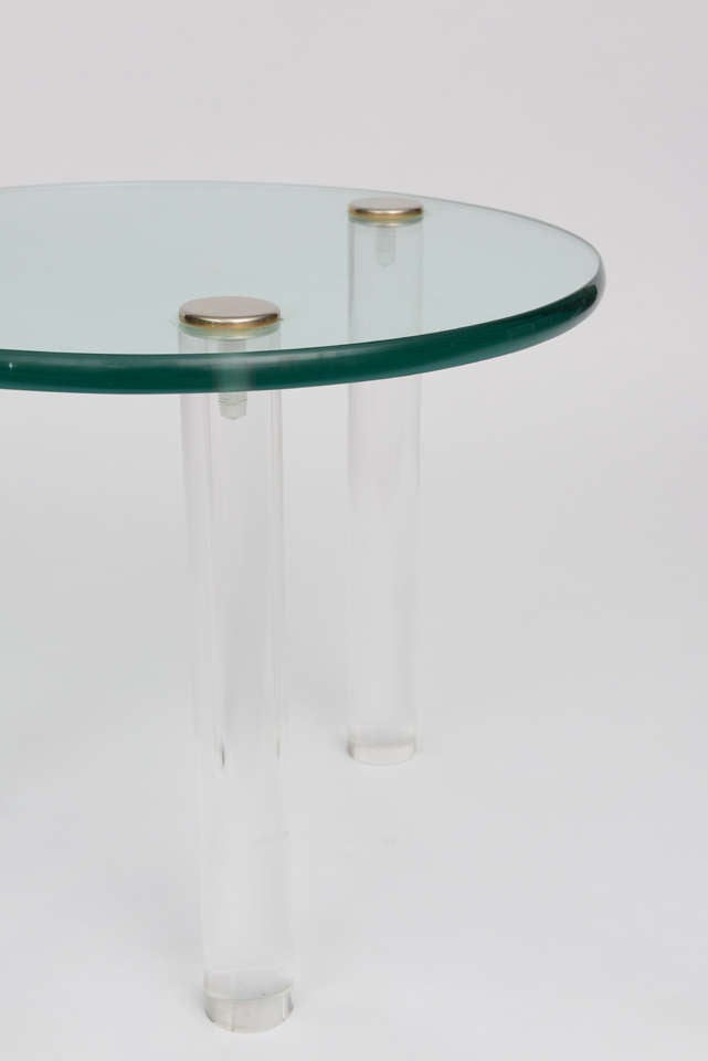 SALE!SALE! SALE! Lucite Side Tables with Thick Glass Top, Gilbert Rhode For Sale 1